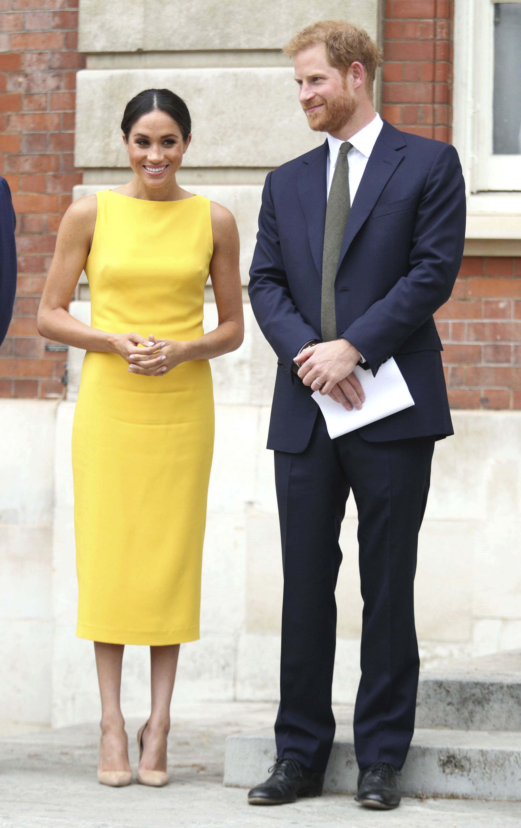 Meghan Markle And Prince Harry Arrive At Your Commonwealth Youth Challenge Reception Duchess Of Sussex Brandon Maxwell Dress