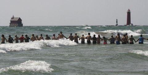Lake Michigan beach human chain