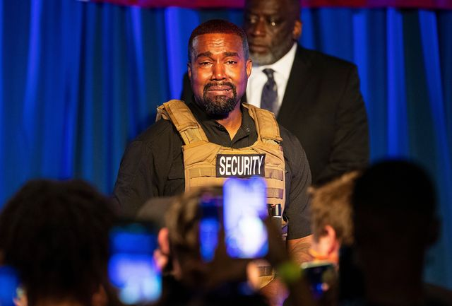 rapper kanye west holds his first rally in support of his presidential bid in north charleston, sc, on july 19, 2020