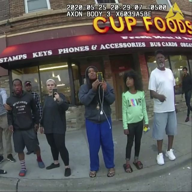 file   this may 25, 2020, file image from a police body camera shows bystanders including alyssa funari, left filming, charles mcmillan, center left in light colored shorts, christopher martin center in gray, donald williams, center in black, genevieve hansen, fourth from right filming, darnella frazier, third from right filming, as former minneapolis police officer derek chauvin was recorded pressing his knee on george floyds neck for several minutes in minneapolis to the prosecution, the witnesses who watched floyds body go still were regular people    a firefighter, a mixed martial arts fighter, a high school student and her 9 year old cousin in a t shirt emblazoned with the word love minneapolis police department via ap, file
