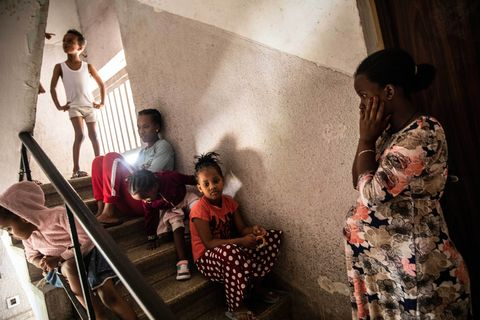 family in a stairwell