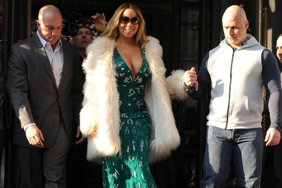 Mariah Carey is seen leaving The Corinthia Hotel in London on St. Patrick's Day in 2016.
