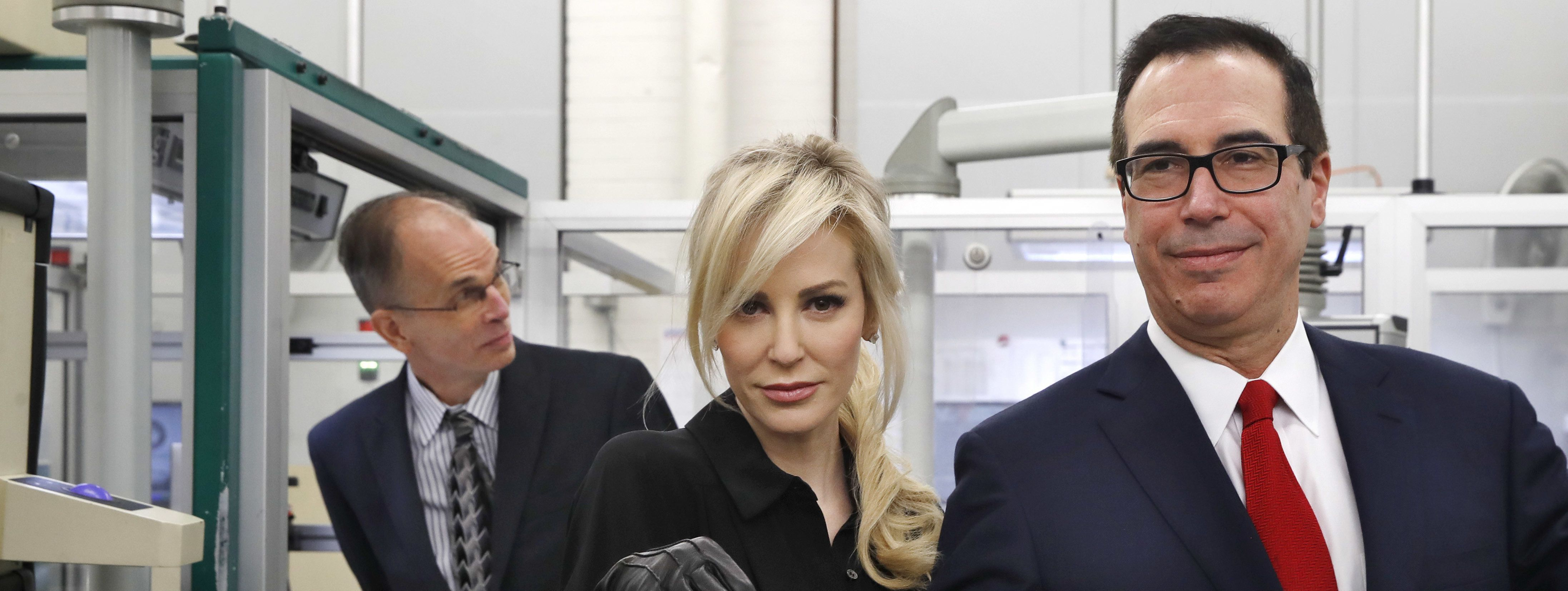 Louise Linton And Steven Mnuchin Holding Money