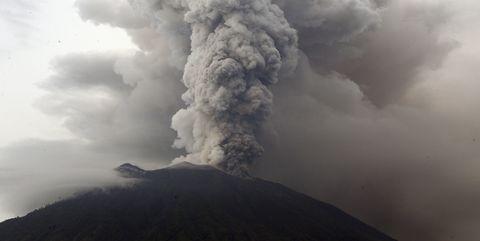 Types of volcanic eruptions, Volcanic landform, Geological phenomenon, Smoke, Volcano, Sky, Cinder cone, Cloud, Lava dome, Shield volcano,