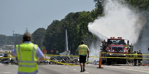 Asphalt, Emergency, Firefighter, Vehicle, Smoke, Road, Road surface, Tree, Fire department, Thoroughfare,
