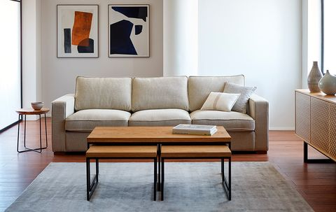 Furniture, Couch, Living room, Room, Interior design, Table, Coffee table, Floor, Sofa bed, studio couch,