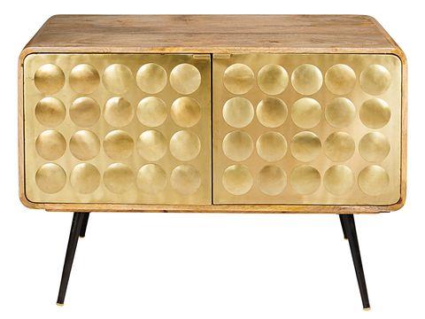 Aparador en dorado y madera estilo mid century