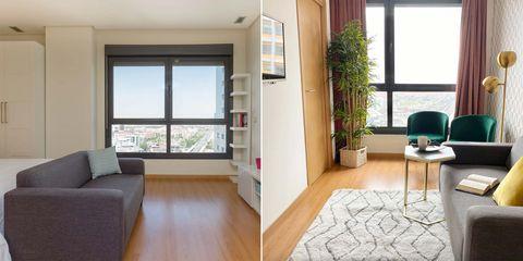 estudio transformado en pequeño apartamento