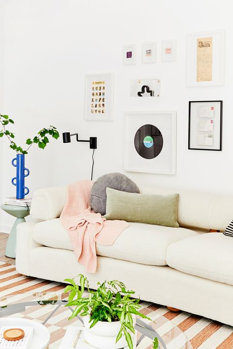 modern living room with blue vase