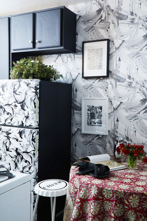 kitchen with black and white removable wallpaper