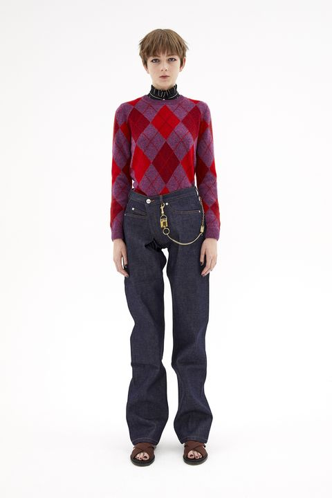 Clothing, Jeans, Standing, Red, Denim, Maroon, Fashion, Sleeve, Waist, Trousers,