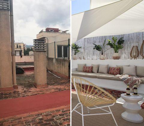 antes y después en una terraza de barcelona
