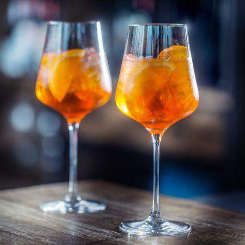 Aperol spritz drink on bar counter in pub or restaurant