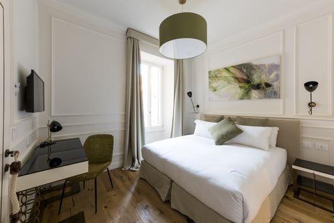 Bedroom, Furniture, Room, Bed, Property, Interior design, Bed sheet, Bed frame, Floor, Building,