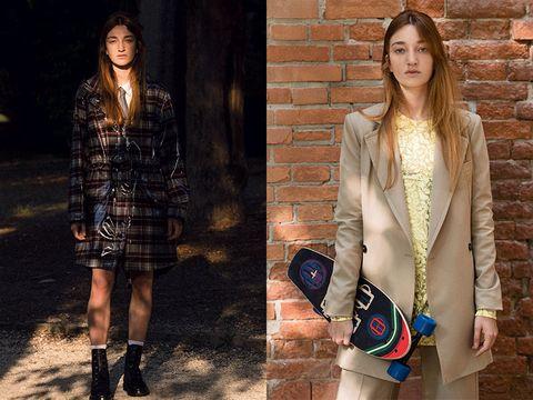 Clothing, Fashion, Fashion model, Street fashion, Outerwear, Blazer, Fur, Footwear, Jacket, Shoulder,
