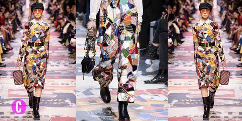 Alla sfilata Dior autunno inverno 2018-2019 a Parigi il patchwork torna di moda e celebra ancora una volta il femminismo e il sessantotto, a cinquant'anni tondi da quella rivoluzione giovanile che ha cambiato le cose.