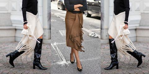 Le gonne per l'inverno 2019 hanno le frange e assomigliano a maxi sciarpe (e sono anche sexy)