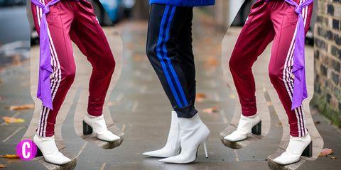 Inizia l'anno nuovo con i pantaloni della tuta, i pantaloni sportivi che diventano eleganti quando li indossi con i tacchi.