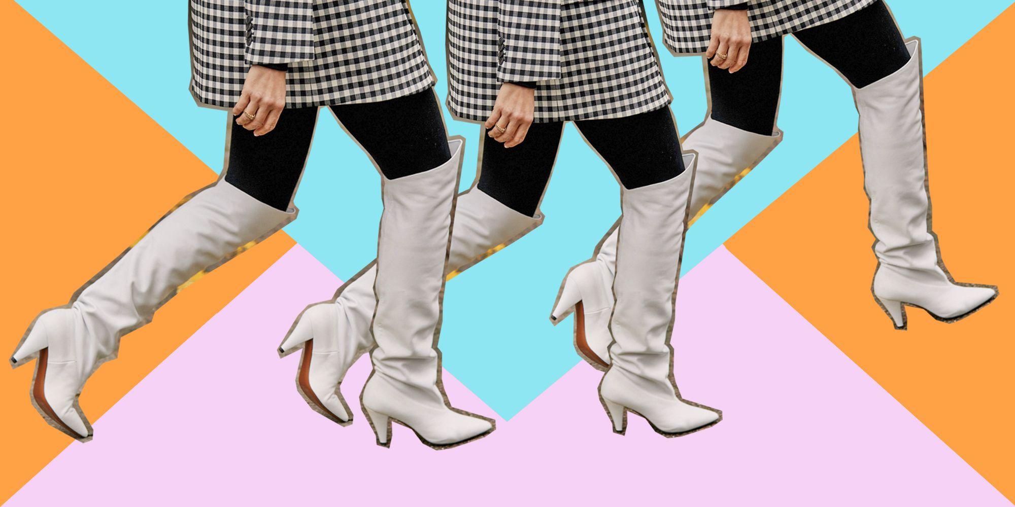 Stivali alti in pelle bianchi alla London Fashion Week 2019