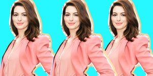 La tendenza per i tailleur della primavera 2019 abbraccia il Pantone 2019, il rosa corallo Living Coral e Anne Hathaway non ha certo esitato davanti al tailleur pantalone ideale per outfit laurea.