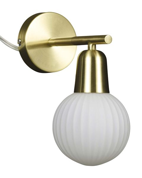 Aplique delatón con globo de cristal