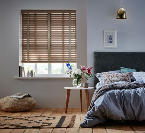 Room, Furniture, Interior design, Bedroom, Window covering, Window treatment, Floor, Curtain, Wall, Window blind,