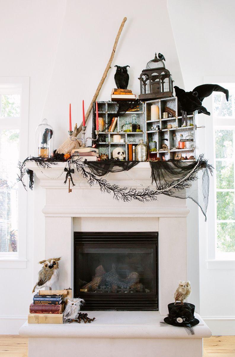 apothecary box halloween mantel & 35 Fall Mantel Decorating Ideas - Halloween Mantel Decorations