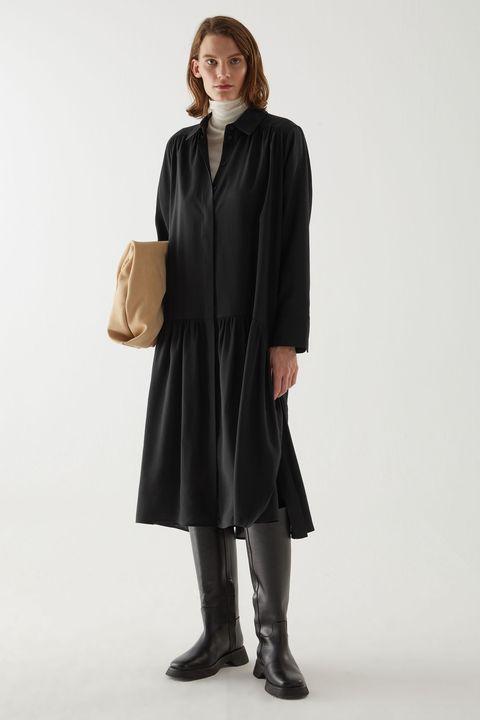 vestito nero chemisier