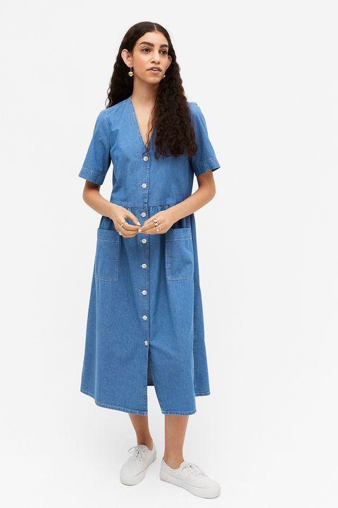 monki denim midi dress