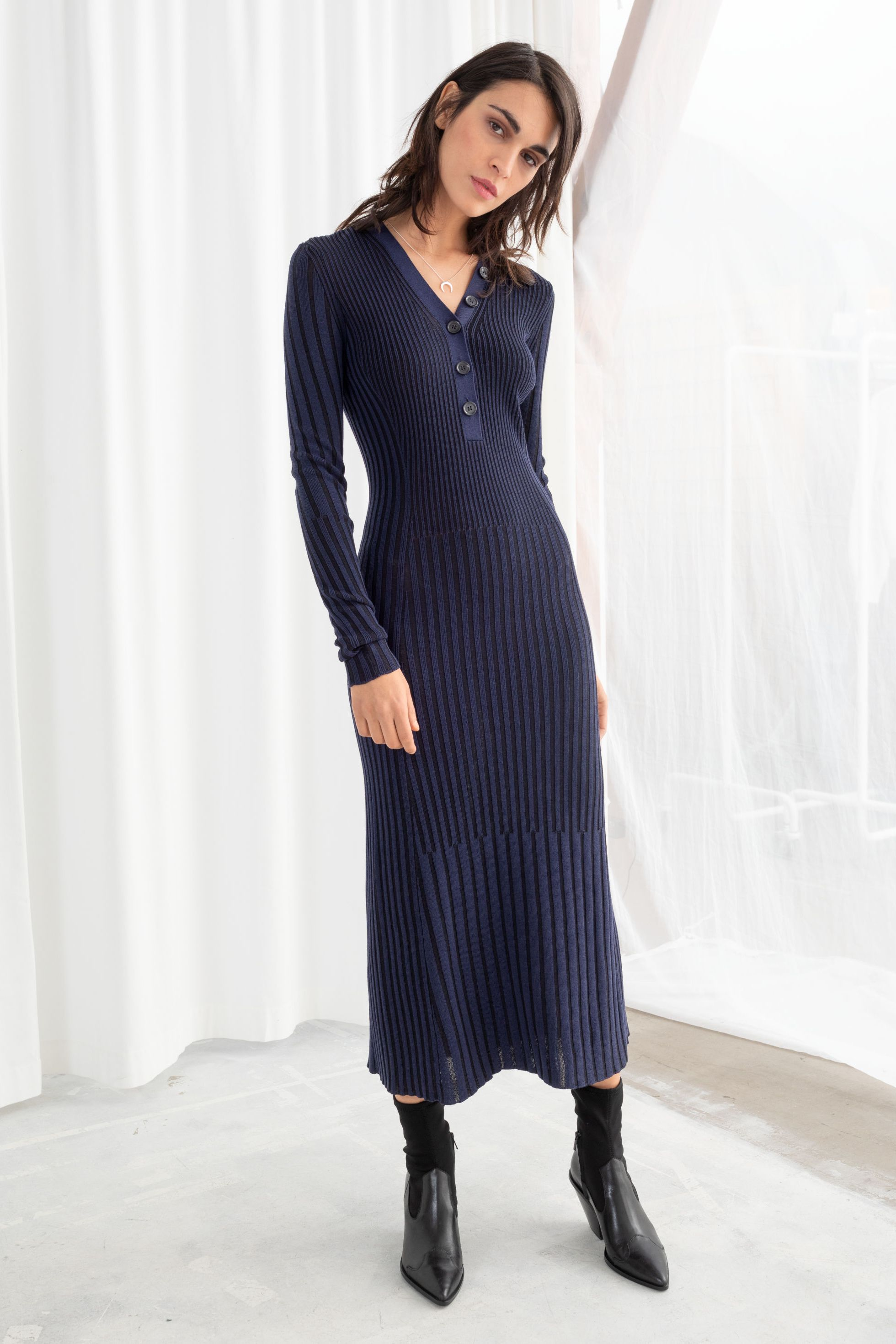 & other stories rib knit midi dress