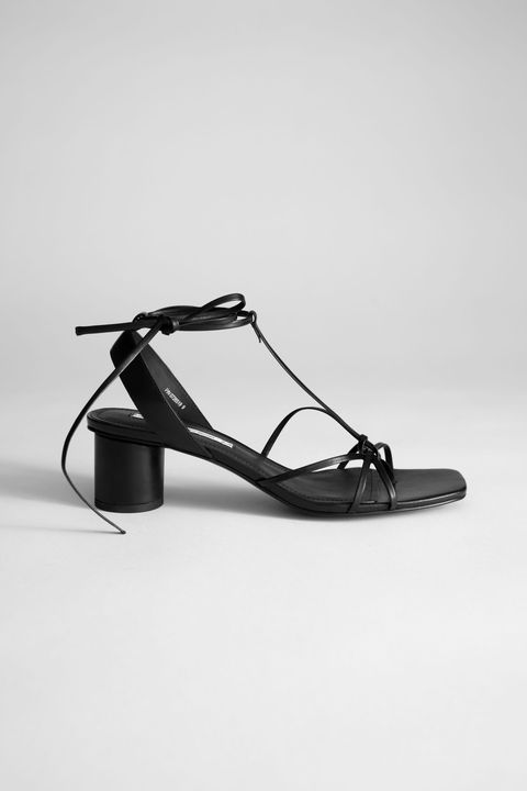 & Other Stories Square Toe Lace Up Heeled Sandals