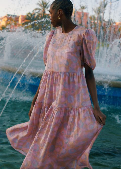 Clothing, Dress, Fashion, Shoulder, Peach, Summer, Gown, Textile, Neck, Day dress,