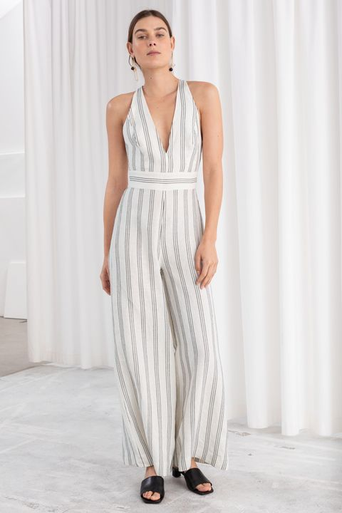and other stories sale - striped linen jumpsuit