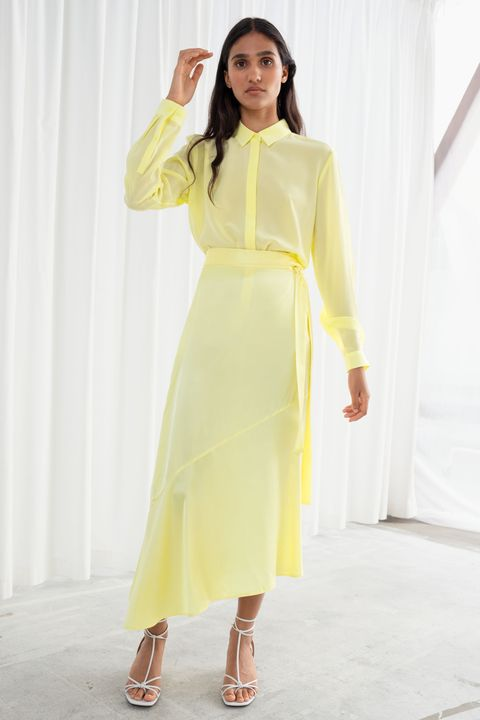 and other stories sale - yellow midi skirt and shirt