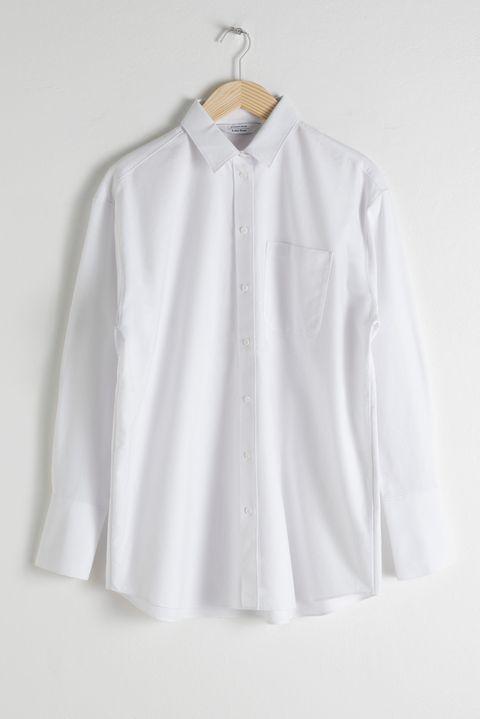 Clothing, White, Collar, Sleeve, Button, Outerwear, Blouse, Shirt, Clothes hanger, Neck,