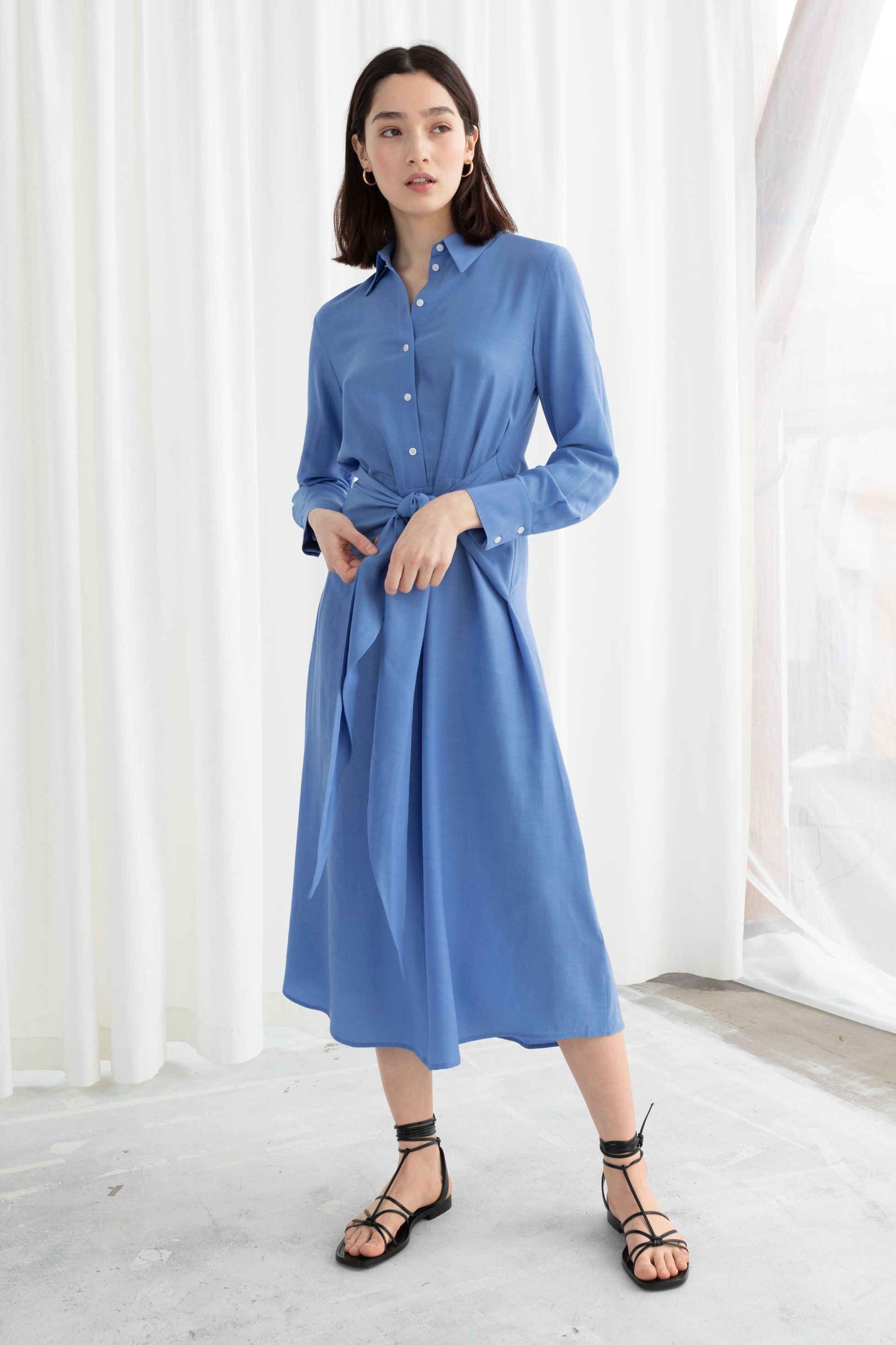 & Other Stories long sleeve waist tie waist midi dress