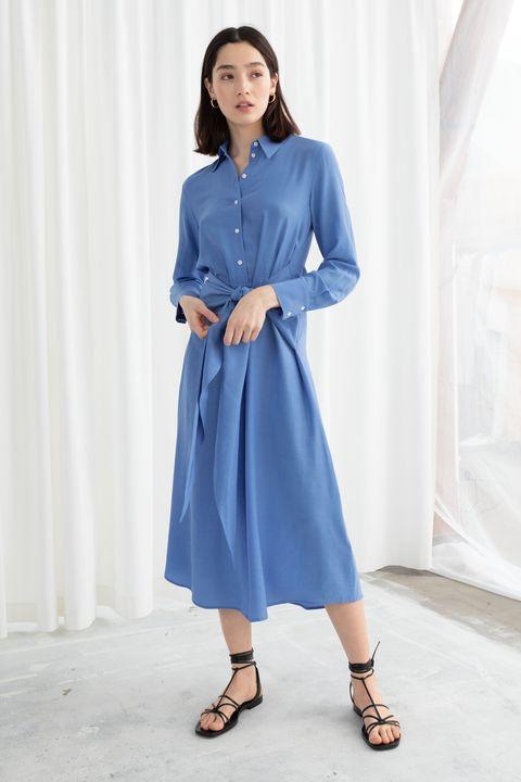 & Other Stories long sleeve waist tie waist midi dress