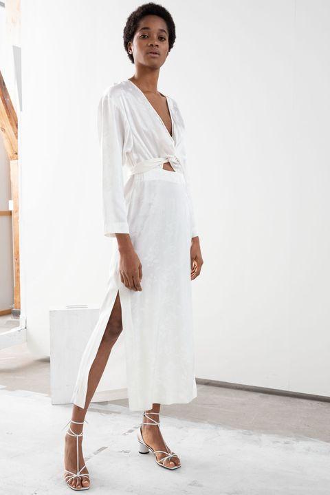 BEACH WEDDING DRESS -Floral Jacquard Overlapping Midi Dress