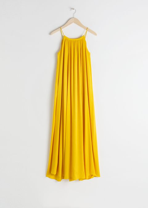 Clothing, Yellow, Dress, Day dress, Clothes hanger, A-line, Outerwear, Cocktail dress, Textile, Neck,