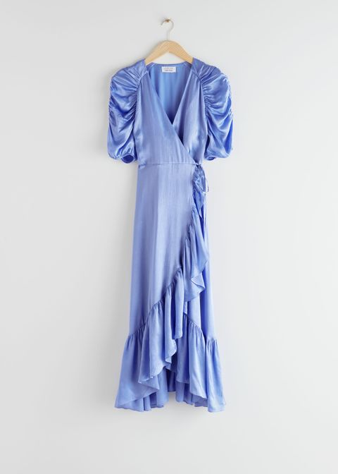 Clothing, Blue, Dress, Day dress, Shoulder, Sleeve, Ruffle, Outerwear, Textile, Formal wear,