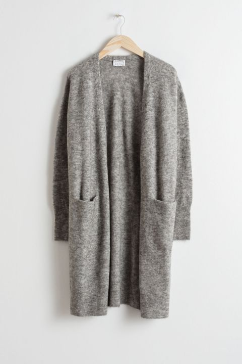 & other stories wool grey cardigan long