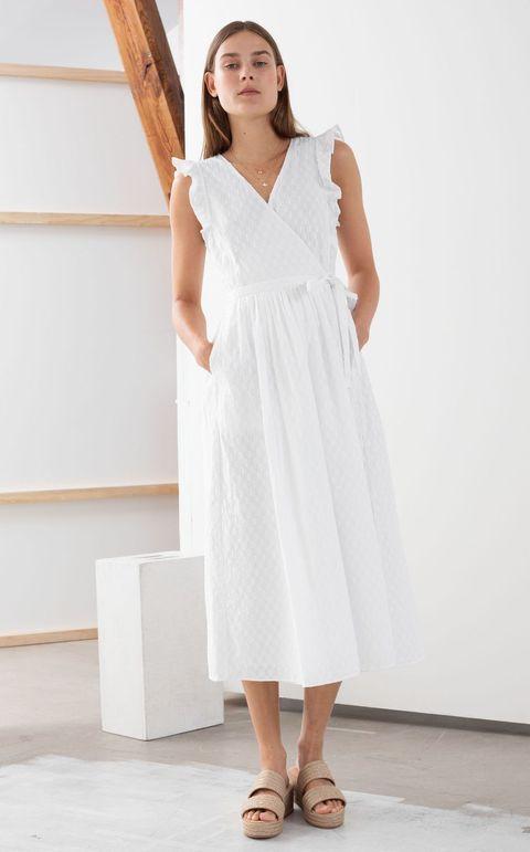 beach wedding dresses -Ruffled Cotton Dobby Midi Dress