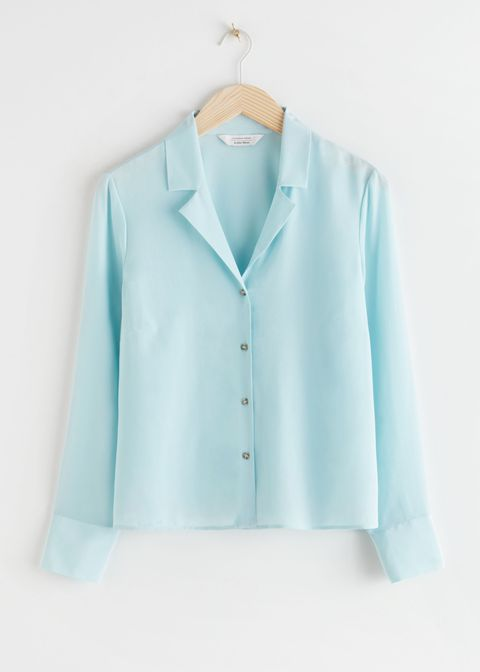 v cut silk blouse
