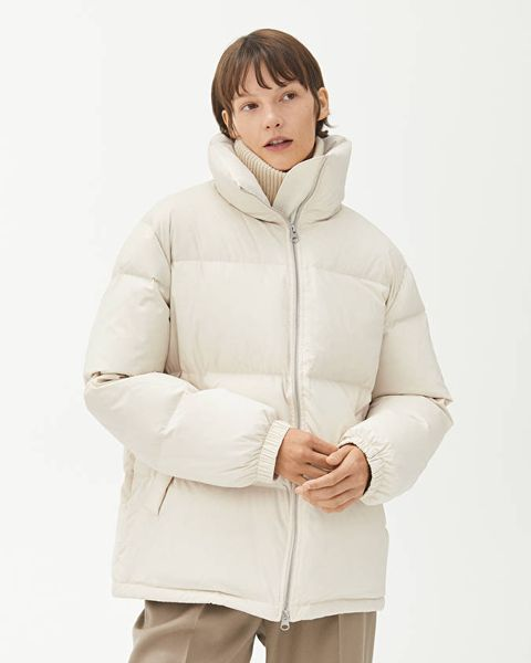 arket cream white puffer jacket outerwear coat