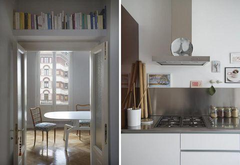 Room, Interior design, Shelving, Shelf, White, Floor, Wall, Flooring, House, Cupboard,