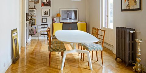 Wood, Room, Interior design, Floor, Flooring, Table, Hardwood, Picture frame, Interior design, Wall,