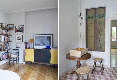 Floor, Interior design, Room, Flooring, Table, Furniture, Wall, Shelf, Fixture, Shelving,