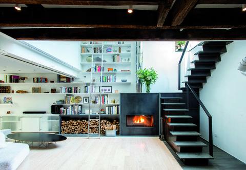 Interior design, Stairs, Floor, Room, Flooring, Ceiling, Interior design, Home, Shelf, Shelving,