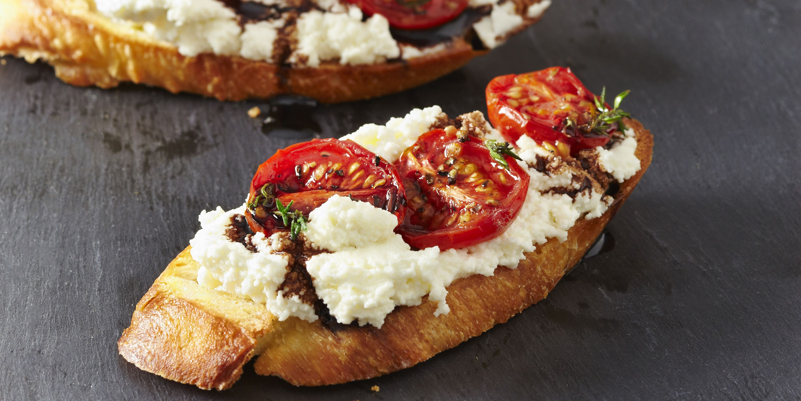 Appetizer of Ricotta and Tomatoes on Bread, Studio Shot