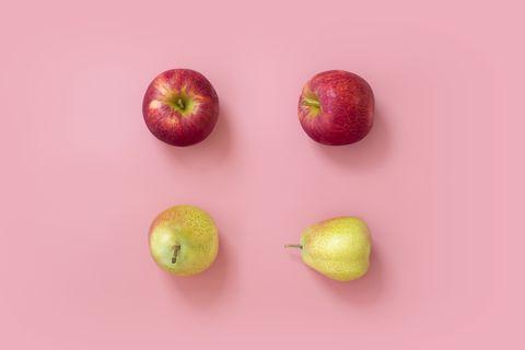 Apple and pear still life.
